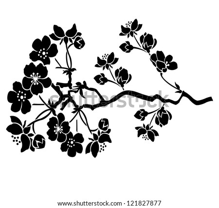 Flower motive with branch - stock vector