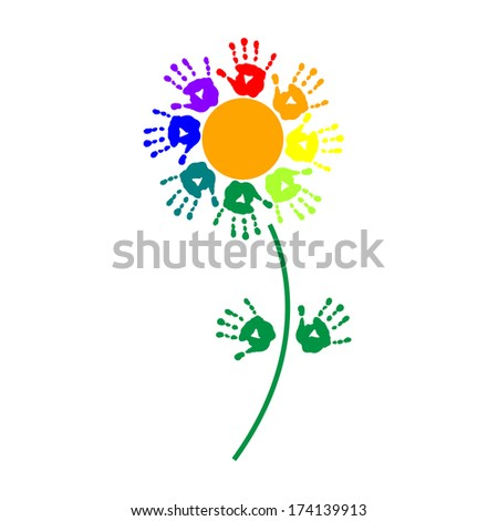 Flower of a colorful hand prints - stock vector