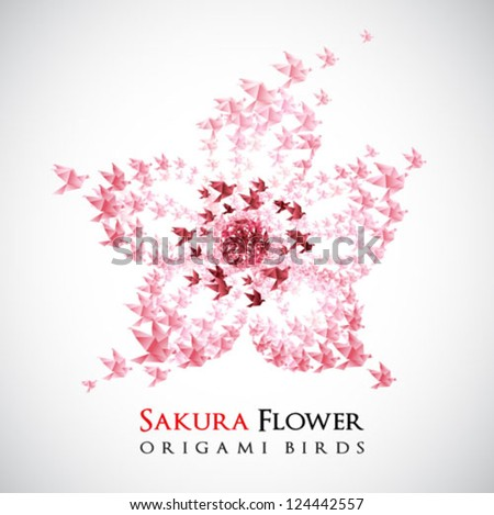 flower origami shaped from flying birds - vector - stock vector