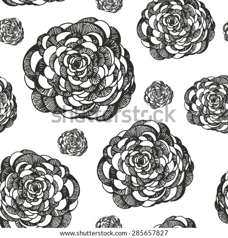 Flower pattern, decorative floral background, hand drawing of ranunculus - stock vector
