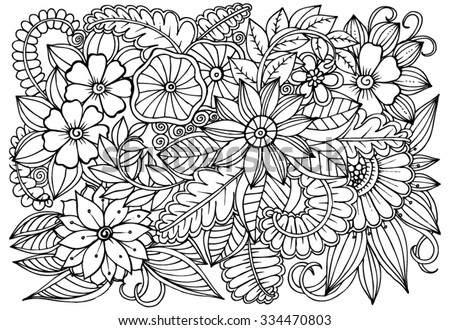 Flower pattern. Vector doodle flowers in black and white - stock vector