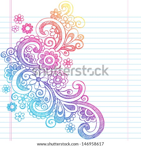 Flower Power Back to School Sketchy Notebook Doodles-Illustration Design on Lined Sketchbook Paper Background  - stock vector