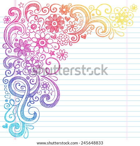 Flower Power Back to School Sketchy Notebook Doodles with Flower Blossoms, Vines, and  Swirls- Hand-Drawn Illustration Design Elements on Lined Sketchbook Paper Background - stock vector