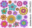 Flower Power Groovy Psychedelic Hand Drawn Notebook Doodle Design Elements Set on Lined Sketchbook Paper Background- Vector Illustration - stock vector