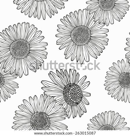 Flower retro seamless background. Vector illustration. - stock vector