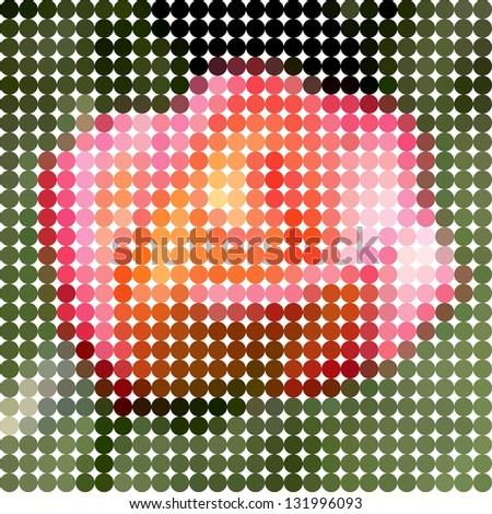Flower rose. Vector circle color ton dots. - stock vector