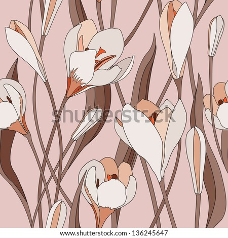 Flower seamless background. Floral vector pattern. - stock vector