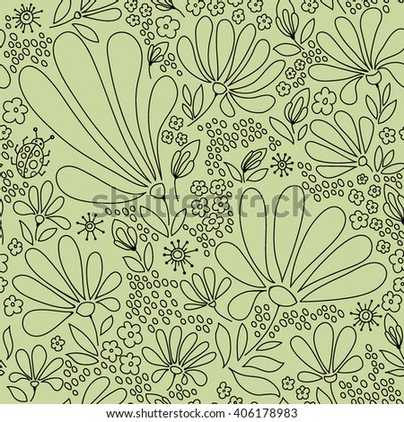 Flower seamless pattern, blooming spring meadow, graceful pattern of flowers and bugs, tender black and green graphics, hand drawn, vector. - stock vector
