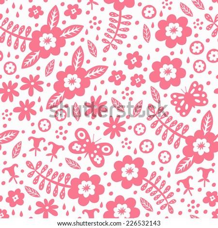 Flower seamless pattern. Vector illustration.  - stock vector