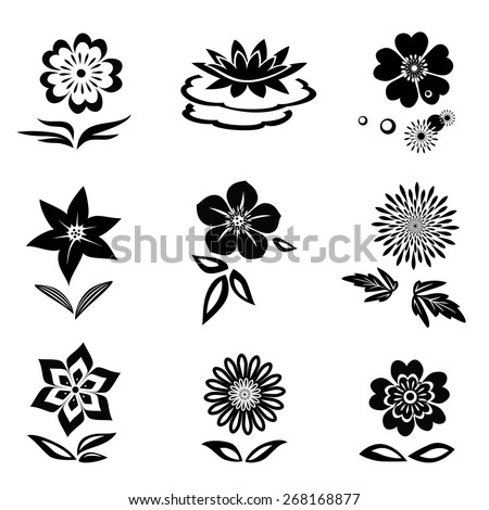 Flower set. Chamomile, chrysanthemum, daisy, lily, orchid, water-lily. Black silhouettes on white background.  Isolated symbols of flowers and leaves. Vector - stock vector