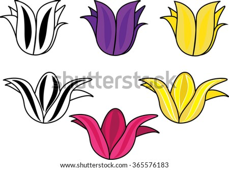 flower set isolated illustration - stock vector