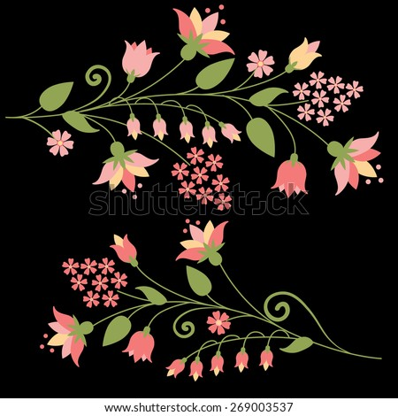 Flower set with pink different flowers isolated on dark brown. Vector illustration. - stock vector