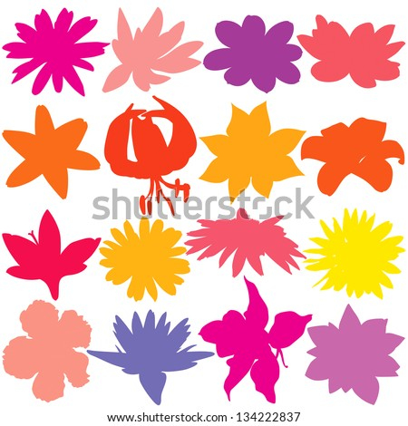 Flower silhouette set. - stock vector
