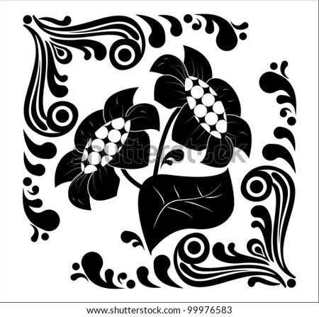 Flower stencil. decorative element isolated on a white background - stock vector