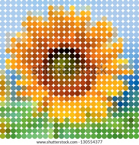 Flower sunflower. Vector circle color ton dots. - stock vector