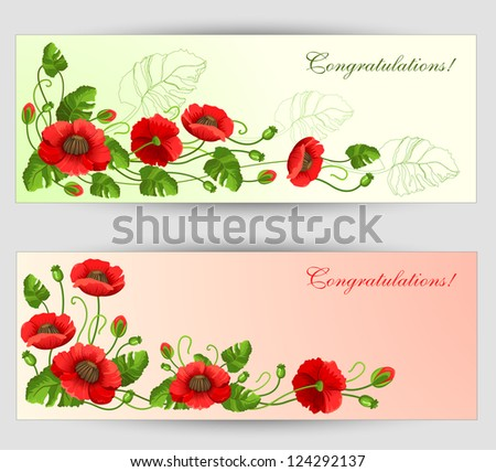 Flower vector background brochure template- Set of floral cards with red poppy seeds - stock vector