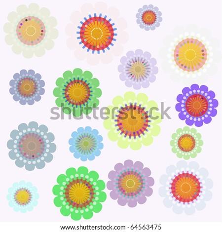 Flower vector retro background - stock vector