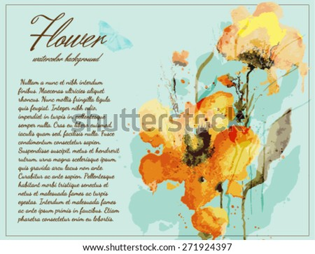 Flower watercolor background with transparent elements. EPS10 format - stock vector
