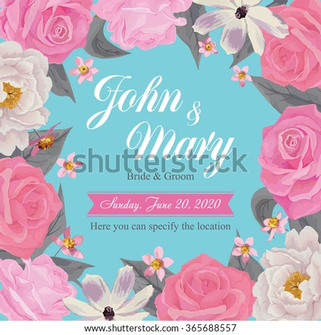 Flower wedding invitation card, save the date card, greeting card. Wedding card or invitation with floral background. EPS 10 - stock vector