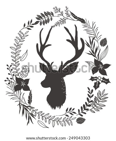 flower wreath around the deer head background - stock vector