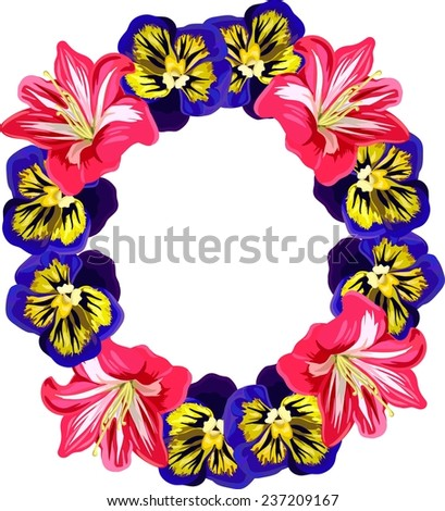 Flower wreath of purple pansies and pink amaryllis - stock vector