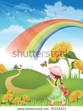Flowers and a Happy little Girl - walking in green grass with lovely and cute natural friends on spring vacation background with beautiful rural landscape : vector illustration - stock vector