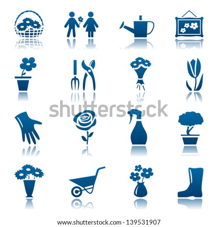 Flowers and gardening icon set - stock vector
