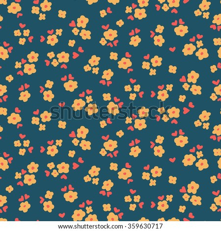 Flowers and hearts - seamless vector pattern - stock vector