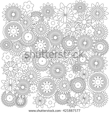 Flowers background catcher for coloring book  - stock vector