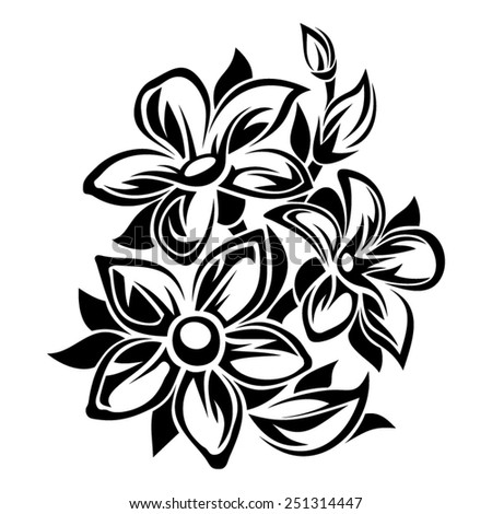 Flowers black and white ornament. Vector illustration. - stock vector