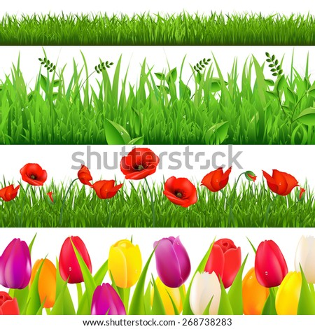Flowers Border With Gradient Mesh, Vector Illustration - stock vector