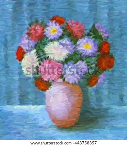 Flowers, Bouquet of Asters in a Pot, Low Poly Geometrical Polygonal Colorful Pattern. Vector - stock vector