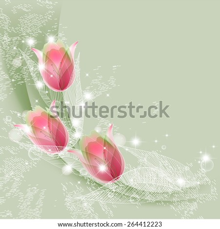 Flowers bright a background are more transparent - stock vector