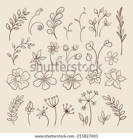 Flowers Doodle elements for design. Vector illustration - stock vector