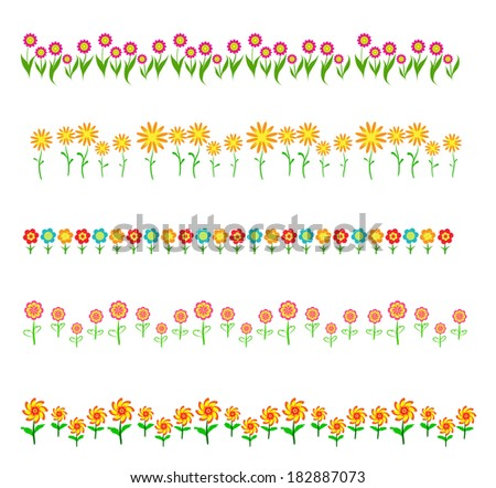 flowers frame isolated on white background - stock vector