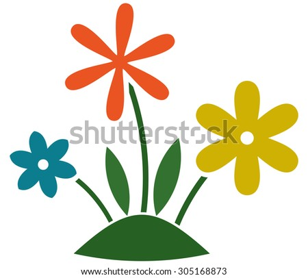 Flowers growing grass lawn. Gardening illustration isolated - stock vector