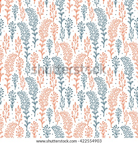Flowers. Hand drawn doodle Wild Flowers. Floral Seamless pattern - Vector illustration. Blue red Floral background. Wildflowers. Grass. - stock vector
