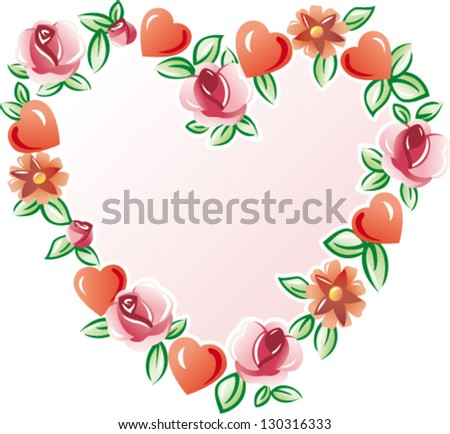 Flowers heart - Vector illustration of floral valentine heart isolated on white - stock vector