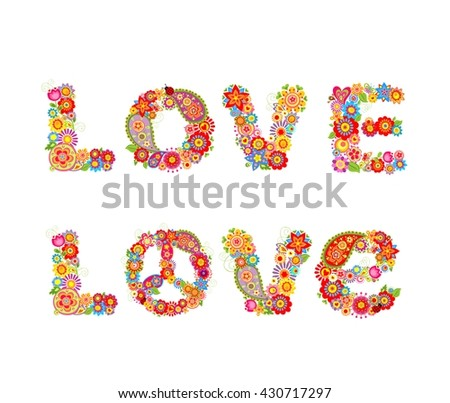 Flowers hippie print with Love letter - stock vector