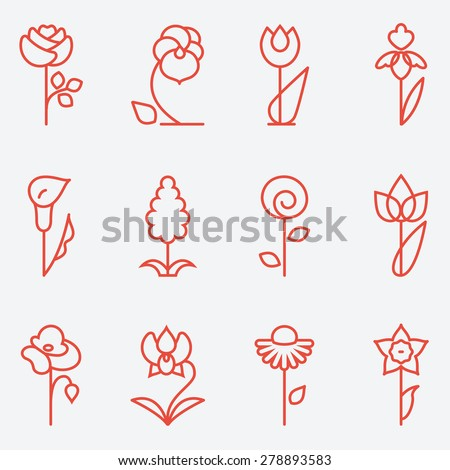 Flowers icon, flat design, thin line style - stock vector