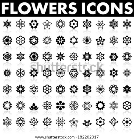 Flowers Icons - stock vector