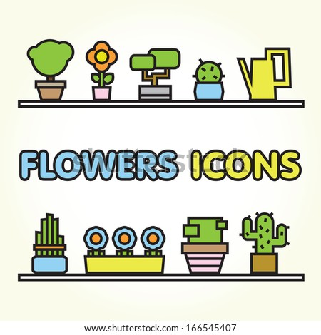 Flowers icons isolated vector set - stock vector