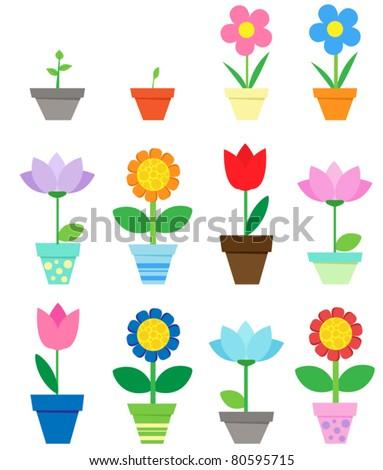 Flowers in pots - clip art - stock vector