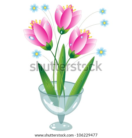 Flowers in the glass vase, vector. - stock vector