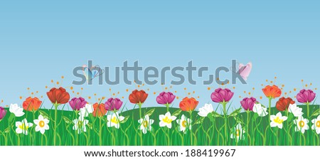 Flowers in the grass - stock vector