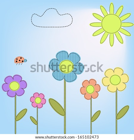 Flowers in the style of fabric applique - stock vector