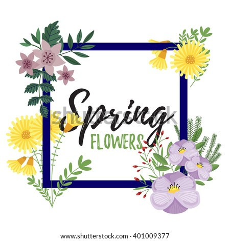 Flowers isolated. Flowers vector on white background. Cute flowers. Floral decoration. Spring flowers. Flowers vector illustration. Flower leaf. Painted flowers. Summer flowers. Blossom flowers. - stock vector