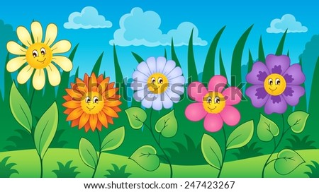 Flowers on meadow theme 3 - eps10 vector illustration. - stock vector