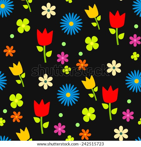 Flowers pattern, black background, vector. - stock vector