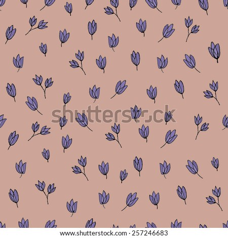 Flowers pattern - purple on pink - stock vector